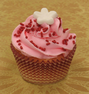 vanilla strawberry cupcake